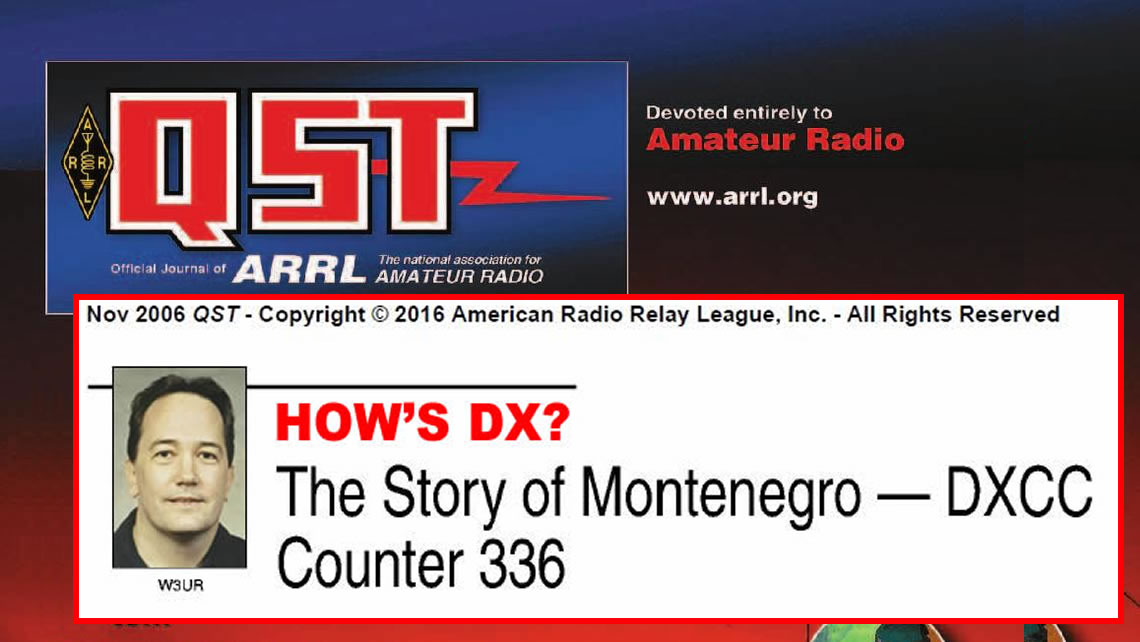 The Story of Montenegro - DXCC Counter 336